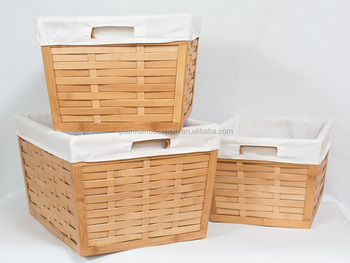 3 Piece Bamboo Nesting Storage Shelf Baskets With Cotton Canvas Liners