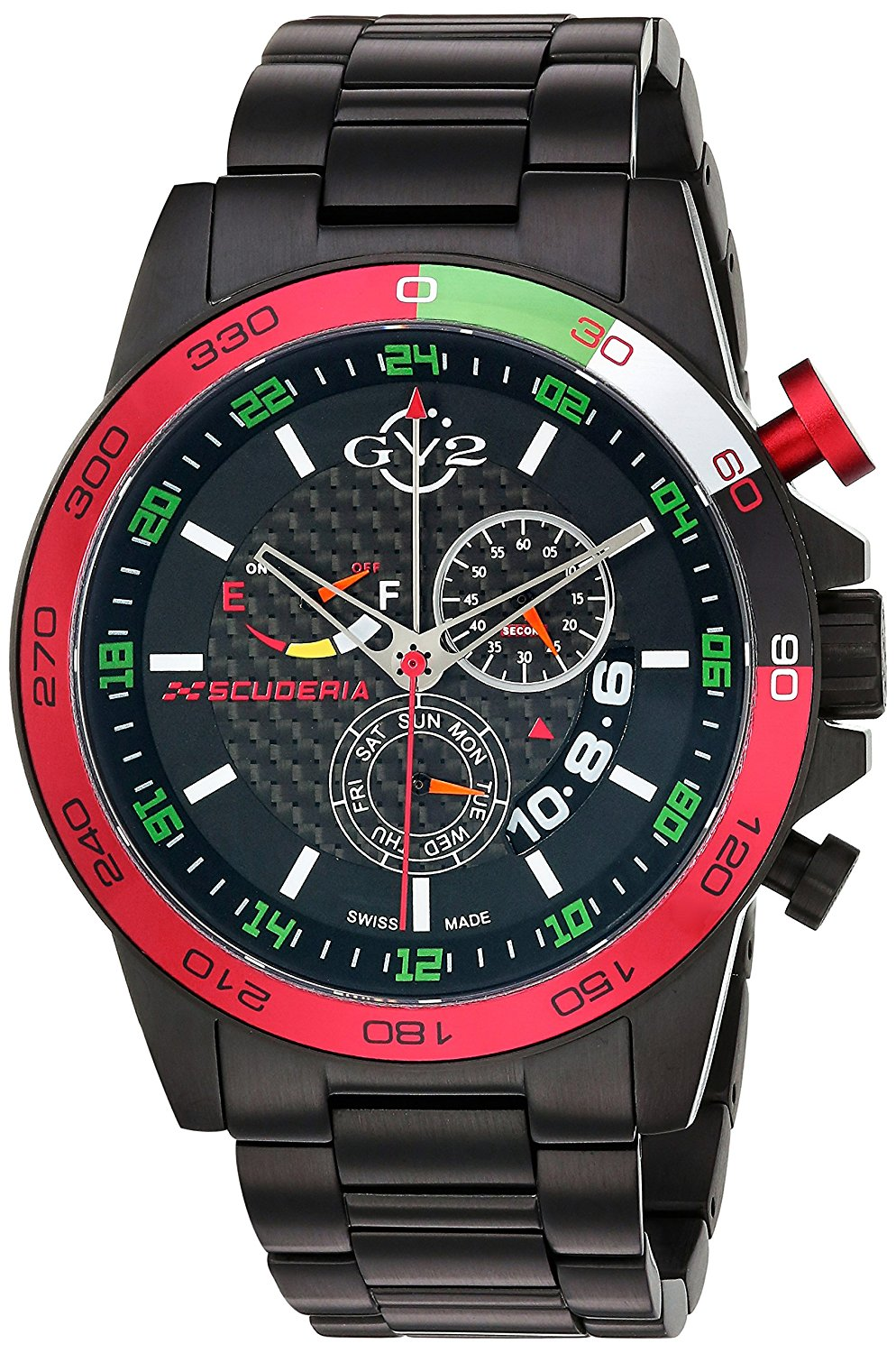 GV2 by Gevril Scuderia Mens Chronograph Swiss Quartz Alarm GMT Black Stainless Steel Sports Racing Watch, (Model: 9907)