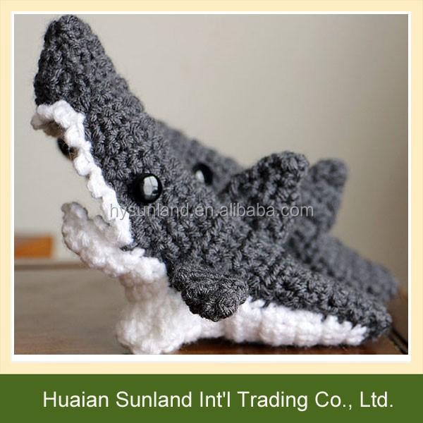 W 974 Funny Unisex Crochet Pattern Shark Socks Knitted Shark Socks