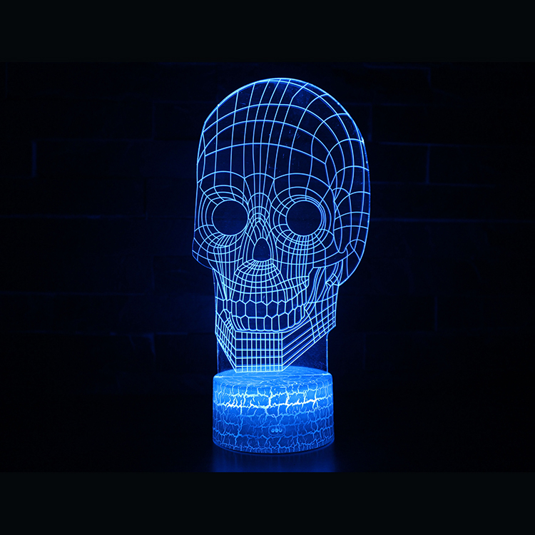 3D Skull Led Night Light Lamp 7 Colors Change with Remote New Halloween Gift for Halloween Decorations 2017