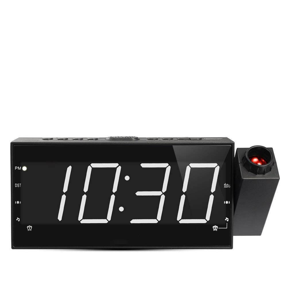 Radio Alarm Clock 8 Inch Ceiling Projection Wall Digital White Led With Usb Charging