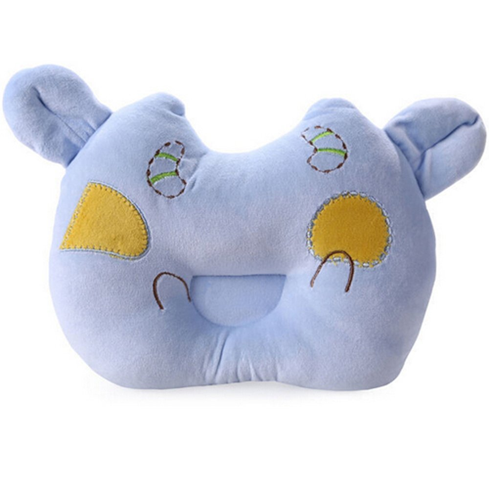 Blue Cute Calf design Baby Positioner Pillow for sleeping , Prevent Flat Head With Super Comfortable and Safe cotton toddler Protective Sleep Pillow for 3-12 months