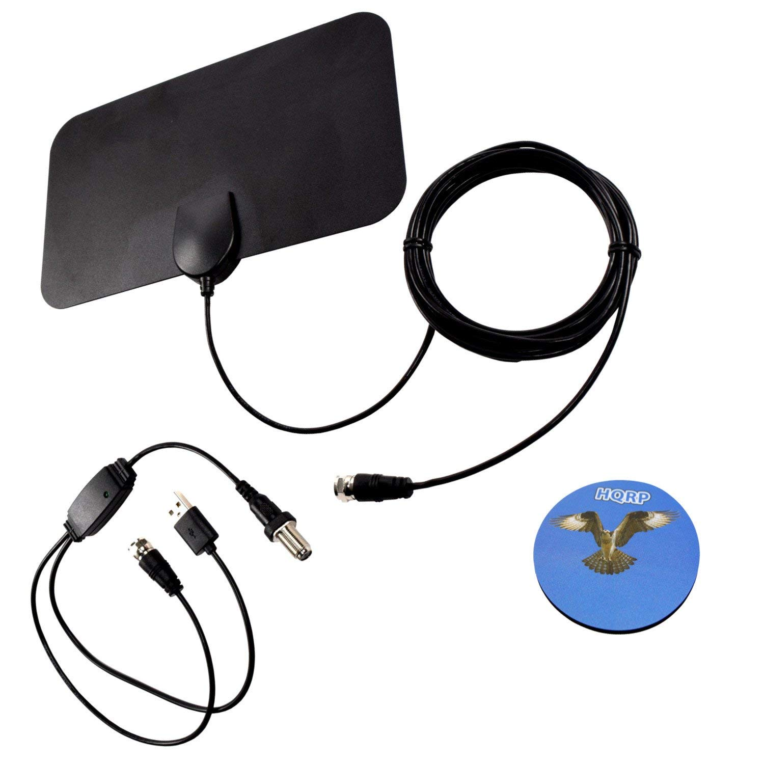 HQRP HDTV Amplified 4K 1080p 35-50 Miles Antenna for Sharp LC-50Q7000U, LC-55N7000U, LC-60LE920UN, LC-60N5100U, LC-60UD27U, LC-65LE654U, LC-70SQ15U, LC-70UE30U, LC-80LE650U, LC-90LE657U