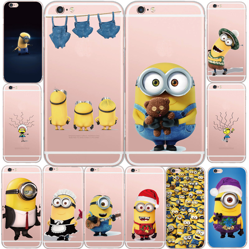 reputable site c8878 e9be8 New Cute Despicable Me Yellow Minions Design Transparent Soft Phone Case  Back Cover For Apple iPhone 5S 6 6S 6Plus Coque Fundas