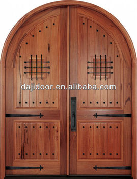 Old Style Round Top Interior Solid Wood Double Doors Model Dj S8371r