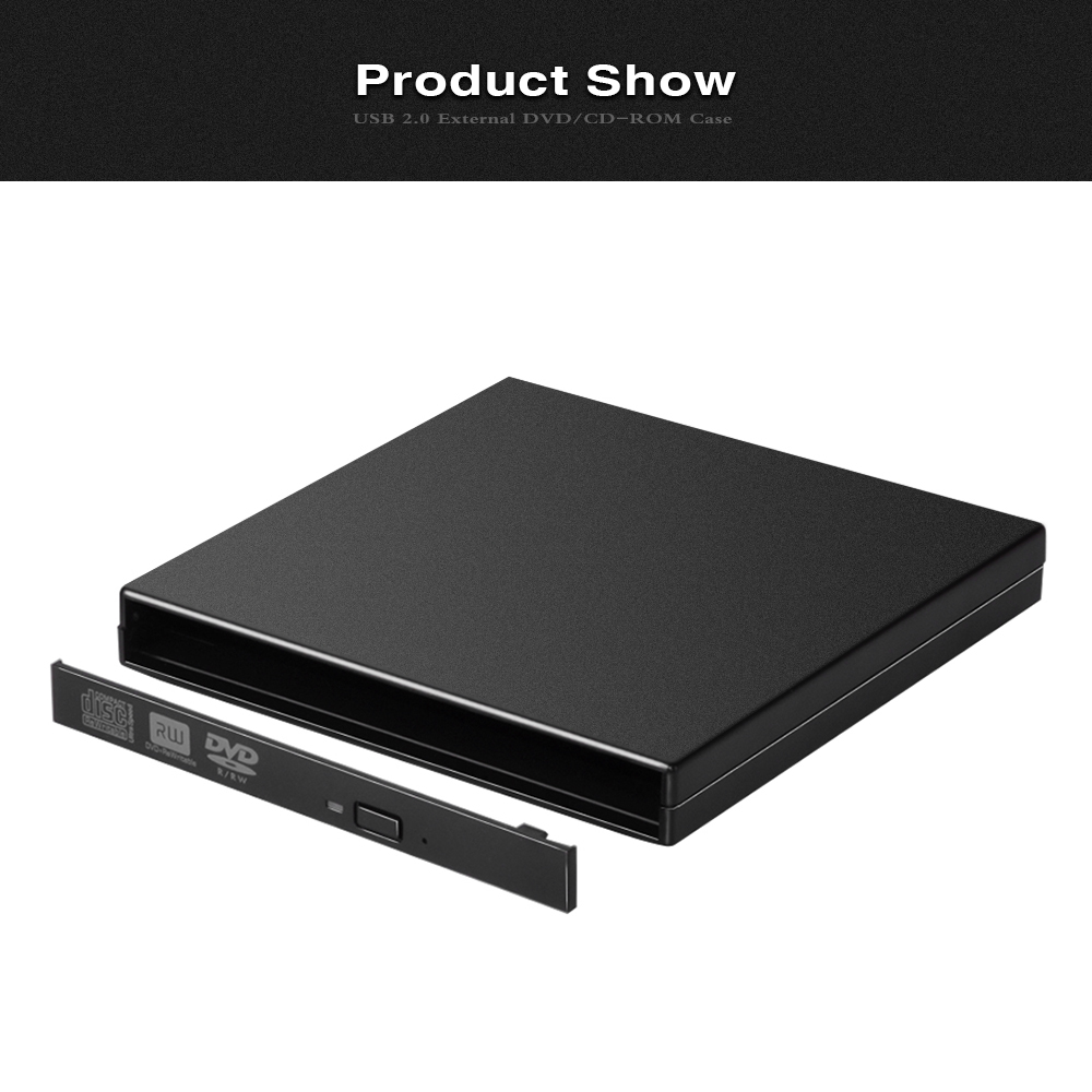 E-SUN Ultra slim 12.7mm external dvd case usb2.0 SATA optical drive enclosure CD RW caddy
