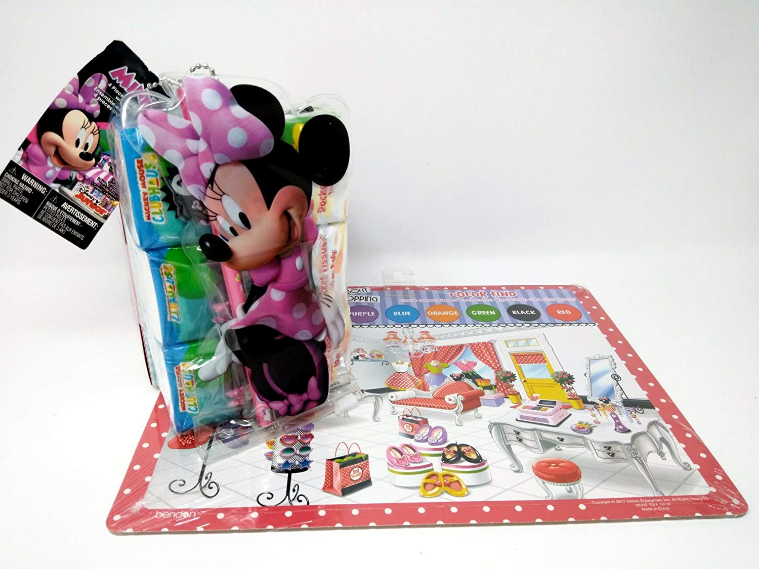 Back to School Toddler Pre-school Elementary School Supplies Pencil Sharpener Dry Erase Board Tissues Minnie Mouse Bundle of 3