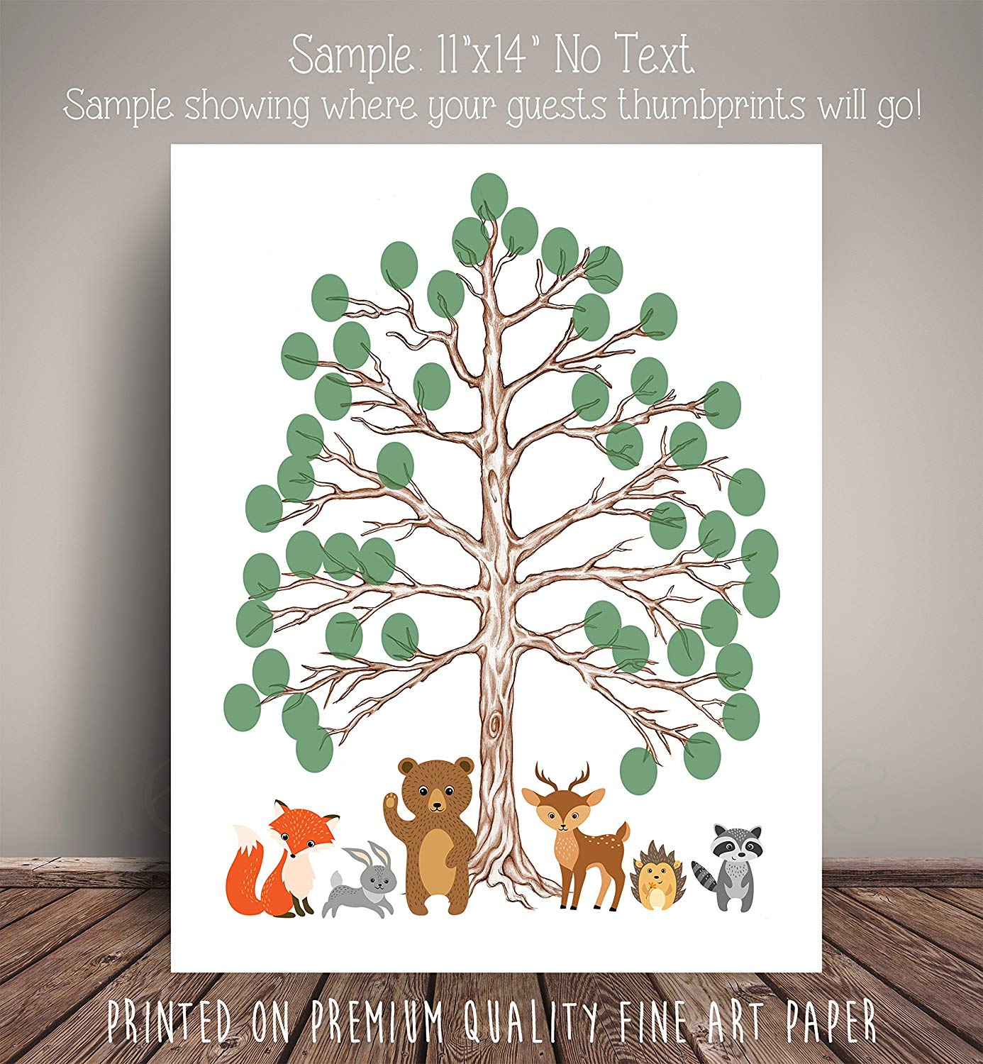 Woodland Forest Friends Baby Shower Nursery Art Memorabilia - Thumbprint Tree for Woodland Nursery - Fine Art Paper WCLBT01-TH