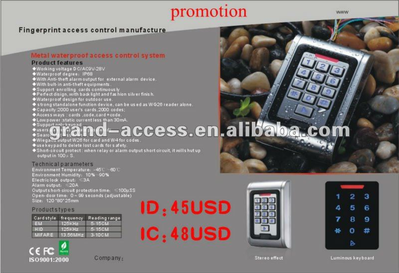 Ethernet Stailess Access Keypad,Waterproof Metal RFID Card Reader