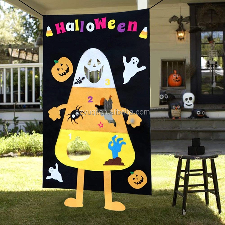 Halloween Candy Corn Bean Bag Toss Game with 3 Bean Bags Party Games for Kids Party Halloween Decorations