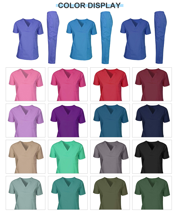 wholesale new style stretchy medical scrubs sets nurse uniform with spandex for women