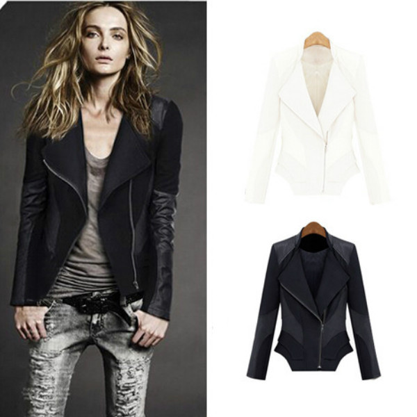 2015 New Fashion Autumn Winter Women Brand Faux Soft Leather Jackets Pu Black White Zippers Long Sleeve Motorcycle Coat S-XXXL