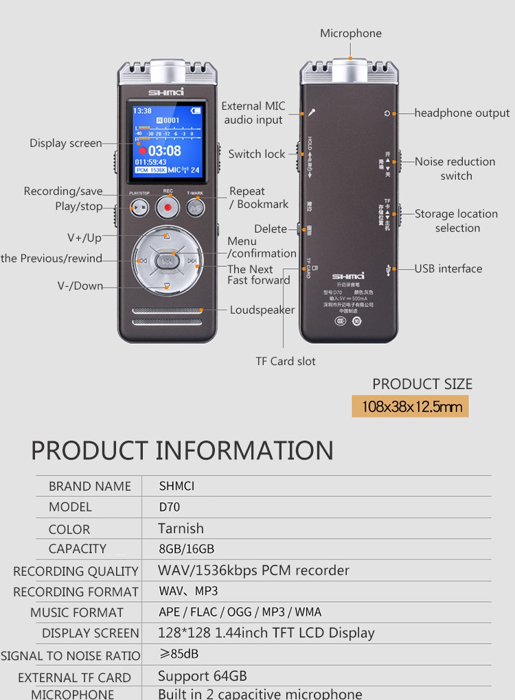 VOX Audio Sound Proof digital dictaphone, voice activated digital audio recorder