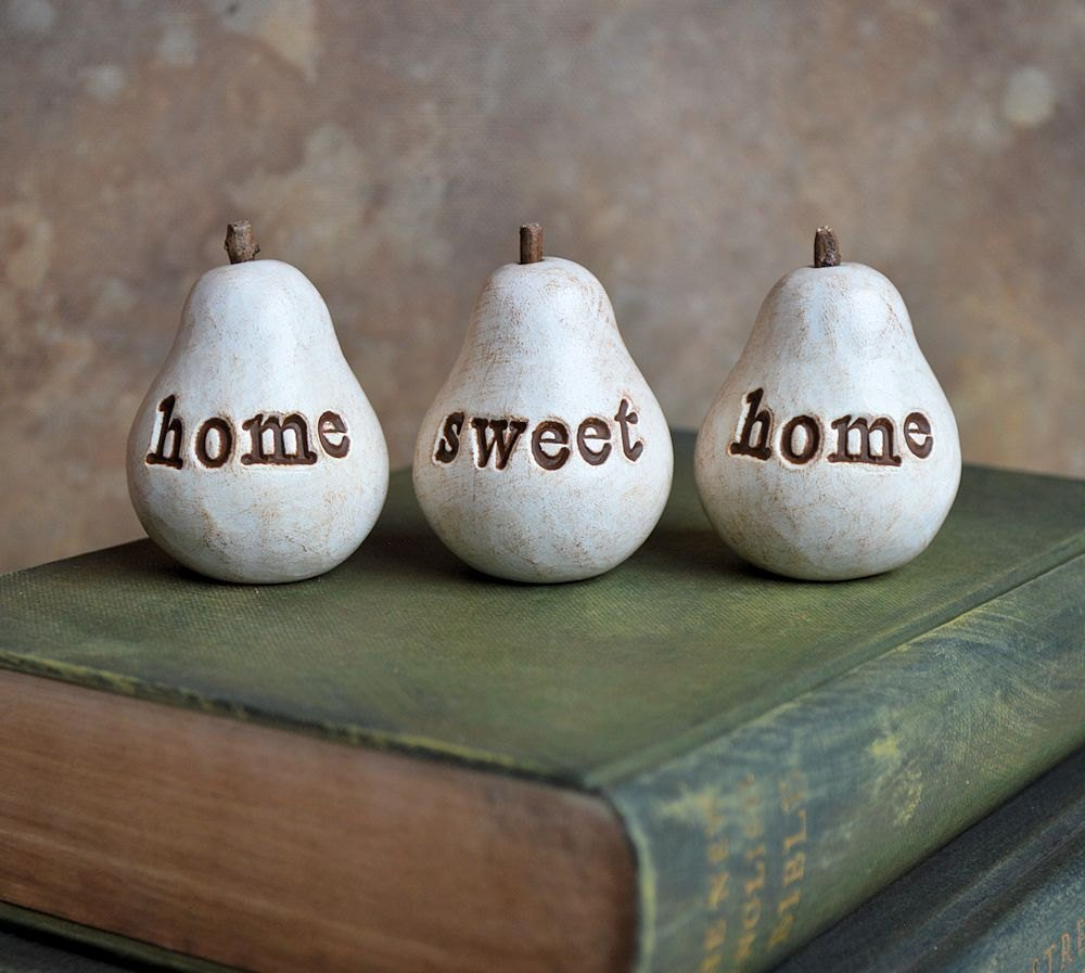 Set of 3 Large Decorative Fruits Lambert Gold and Silver Pears