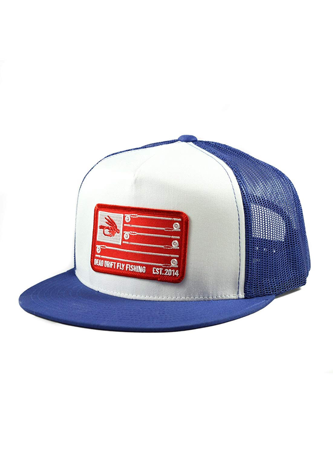 13b97e62c34a2 Get Quotations · Dead Drift Fly Fishing Hat Stars and Stripes Royal Flat  Bill Snapback Fly