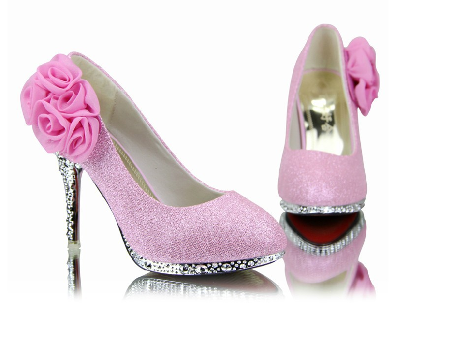 Pink High Heels For Wedding: Hot 2016 Diamond Wedding The Bride Wedding Shoes High Heel