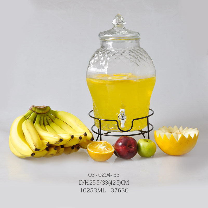 10253 ml of transparent big glass juice jar / beer jar
