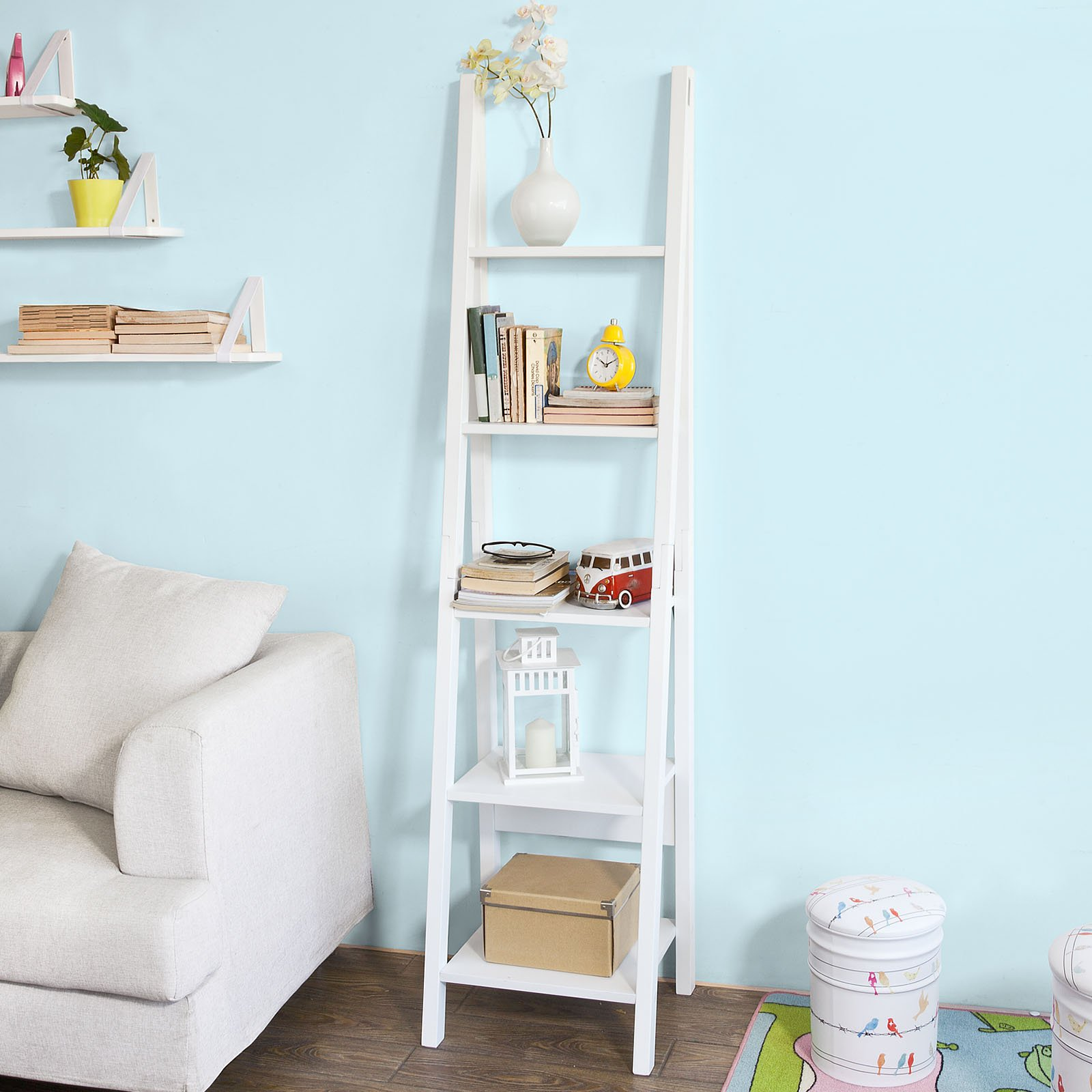 SoBuy Modern ladder bookcase made of wood, book shelf,stand shelf, wall shelf (FRG101-W)