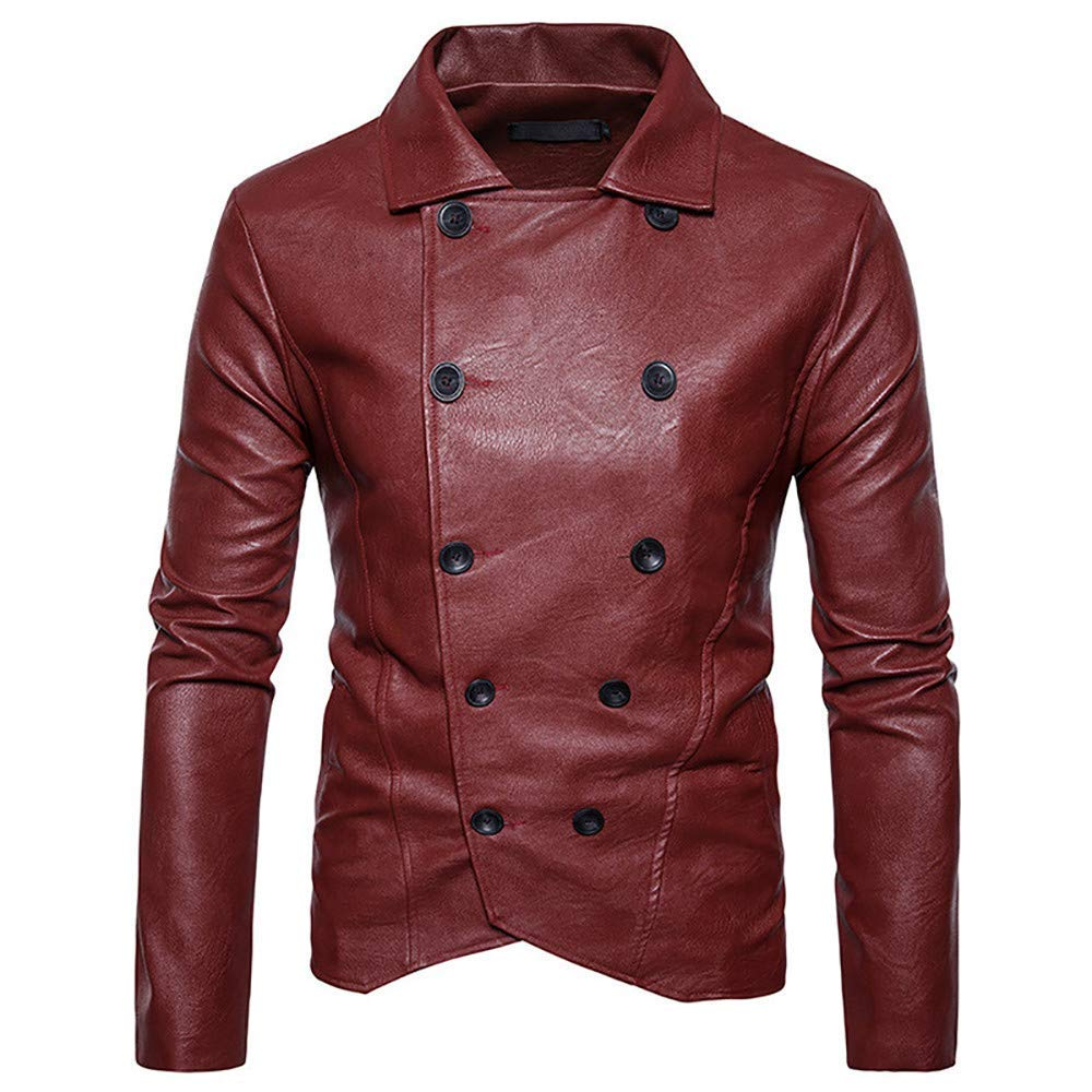 Mens Blazer Jacket,Cool Double-Breasted Bomber Jacket Slim Fit Imitation Leather Outwear Motorcycle Coat Zulmaliu