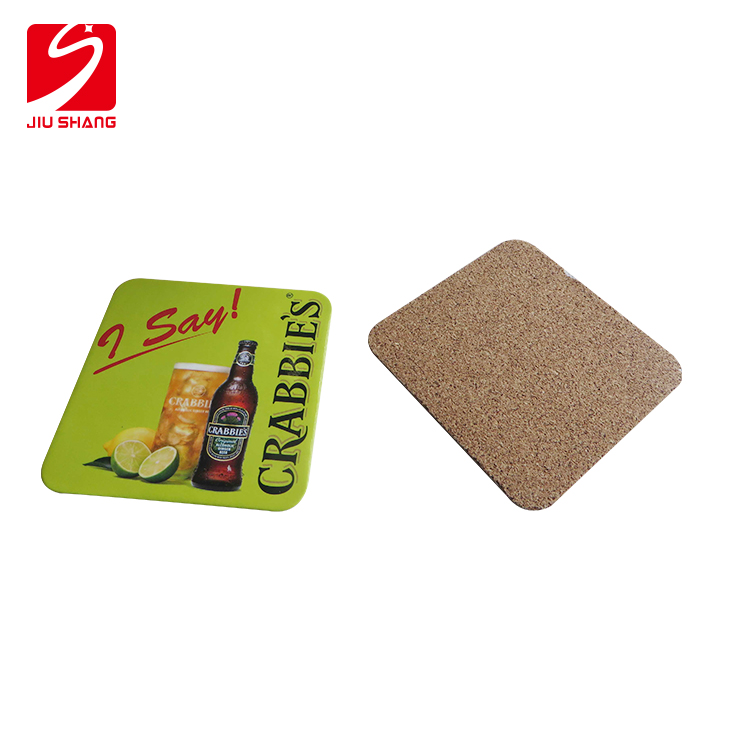Custom printed logo square cork coaster (cork coaster set)