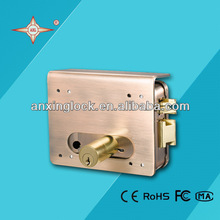 AX058 red copper brass key gate rim lock with connected cylinder