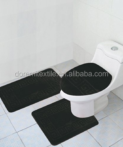 Microfiber Soft Bath Room 3-pcs set mats,non-slip bath tub mat