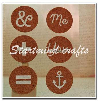 printed cork die cut shapes sticker for scrapbook buy cork circles