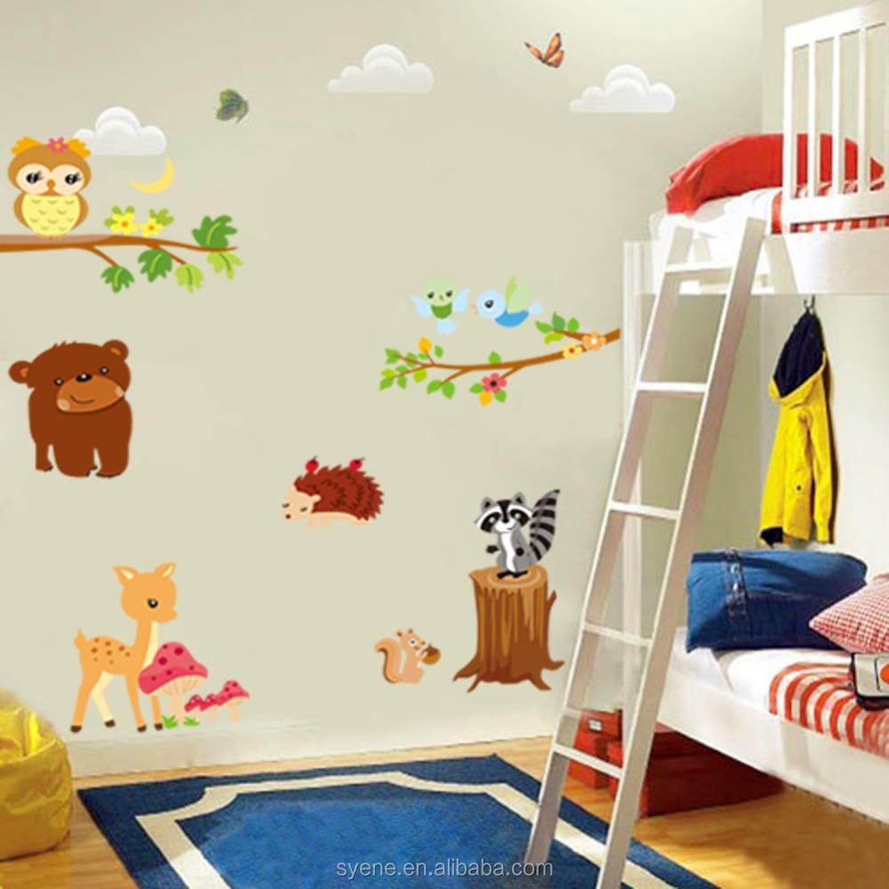 New Cartoon Animals Tree Zoo Wall Decal Tree D Baby Nursery Kids - Zoo animal wall decals