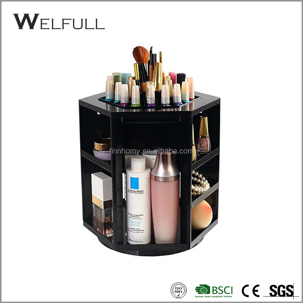 Wholesale 360 Rotate Acrylic Display Cosmetic Stand Makeup Brush Storage Organizer