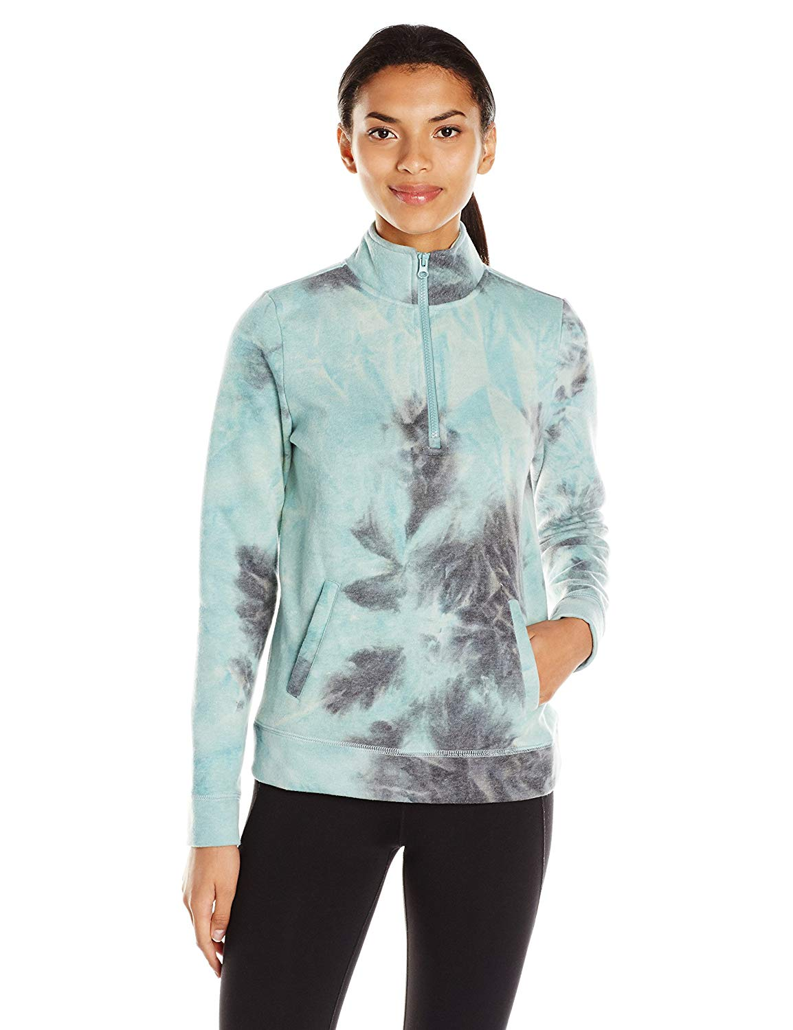 The Warm Up by Jessica Simpson Women's Tie Dye Fleece Pullover with Branded Graphic