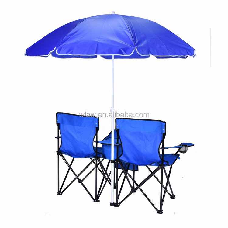 Camping Double Folding Chairs With Umbrella And Cooler Buy Double Folding C