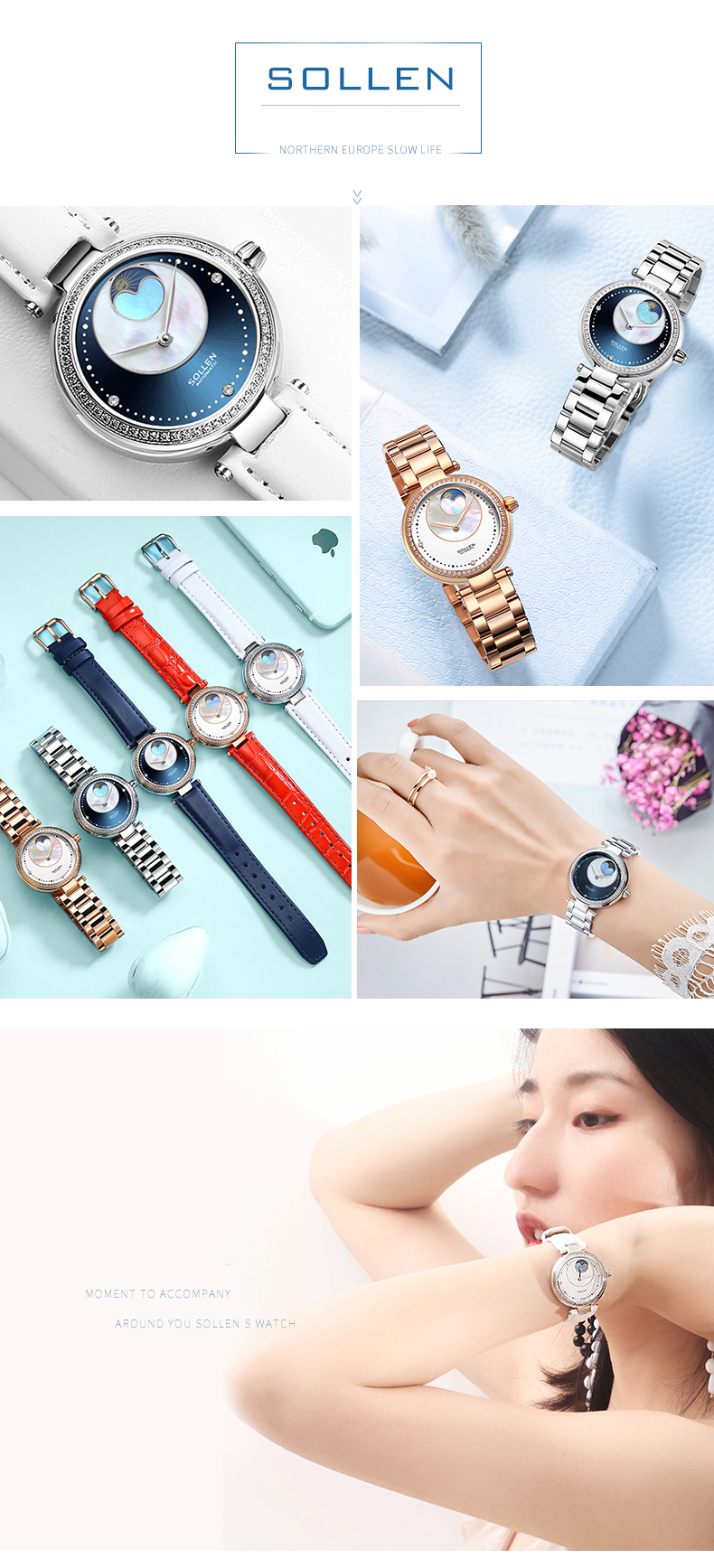 SOLLEN stainless steel watches women luxury gold watch automatic mechanical hand watch hot sale wristwatch fast delivery reloj