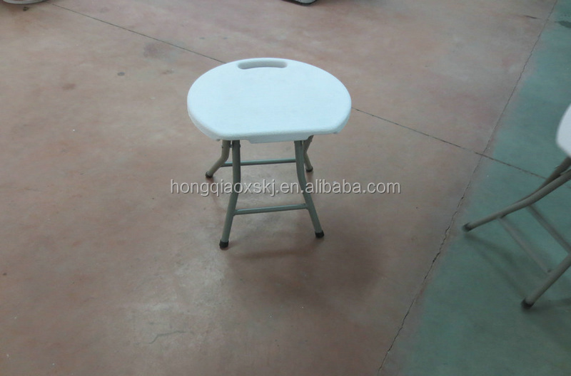 mini plastic stool for one seat/round HDPE top+steel stainless legs/30*33cm seat for camping high quality stool/fold mini chair