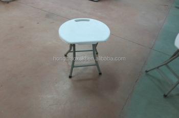 Mini sgabello di plastica per un seggio hdpe round top steel inox