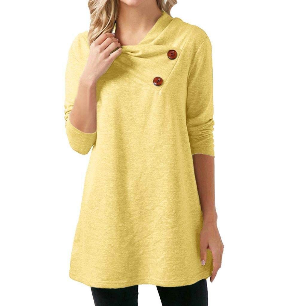 Women Tunics Long Sleeve Tee Shirts BCDshop Cowl Neck Button Casual A-Line Top Blouse-Cotton