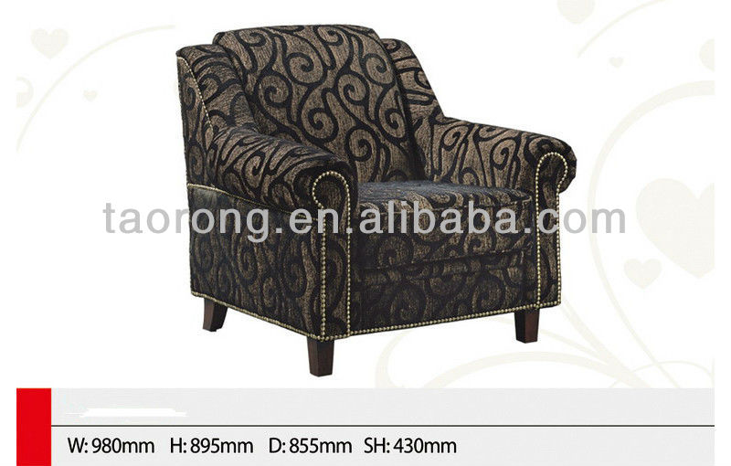Classic french antique fabric single sofa with wooden feet TR2081