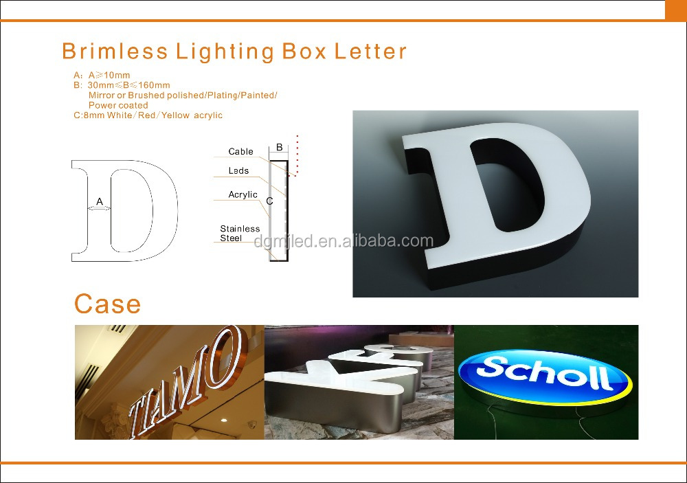 Waterproof Front-lit LED Lighting Channel Letter Signs with Acrylic face