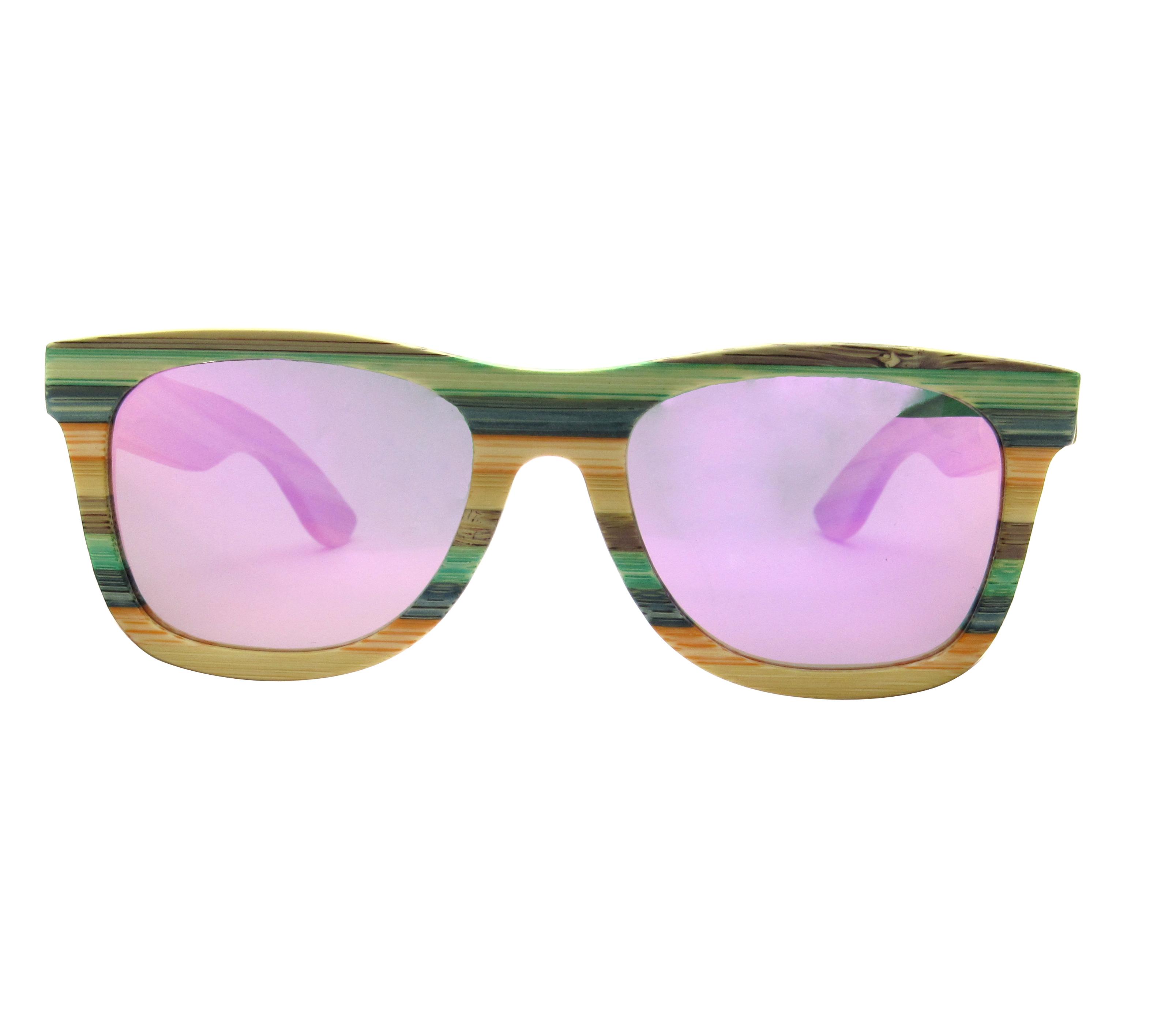 ab502939d9 Venta al por menor gafas de sol de bambú, gafas de arco iris Natural de