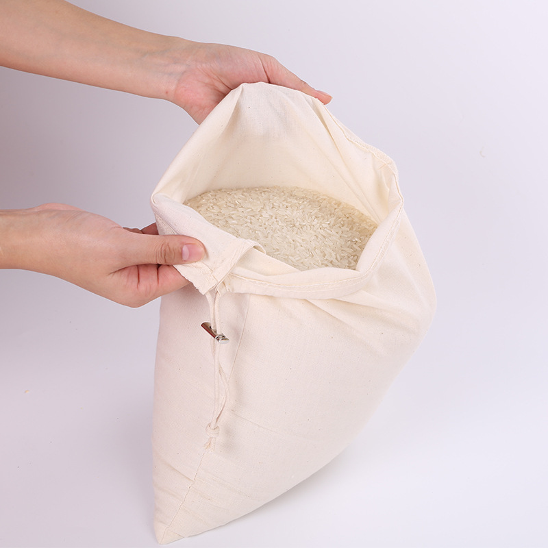 100% Organic Cotton, Biodegradable and Reusable Premium Quality Muslin Double Drawstring Bags, Select From Sizes