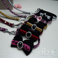 ETSY Hand made XS-S Pet Cat Puppy Dog Bling Crystal Diamond Rhinestone Collar and Leash Set