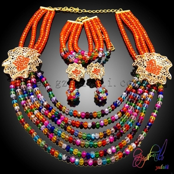 798bd411759a1e Red Latest Design Beads Necklace African Beads Jewelry Sets fashion glass bead  jewelry wholesale china