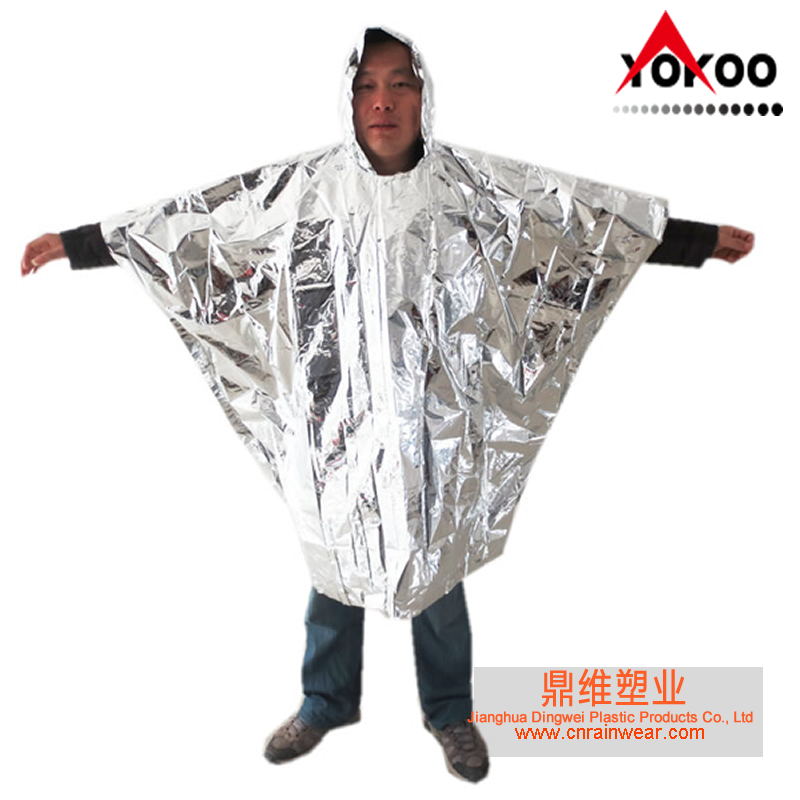 Emergency aluminum foil rain poncho against cold and radiation