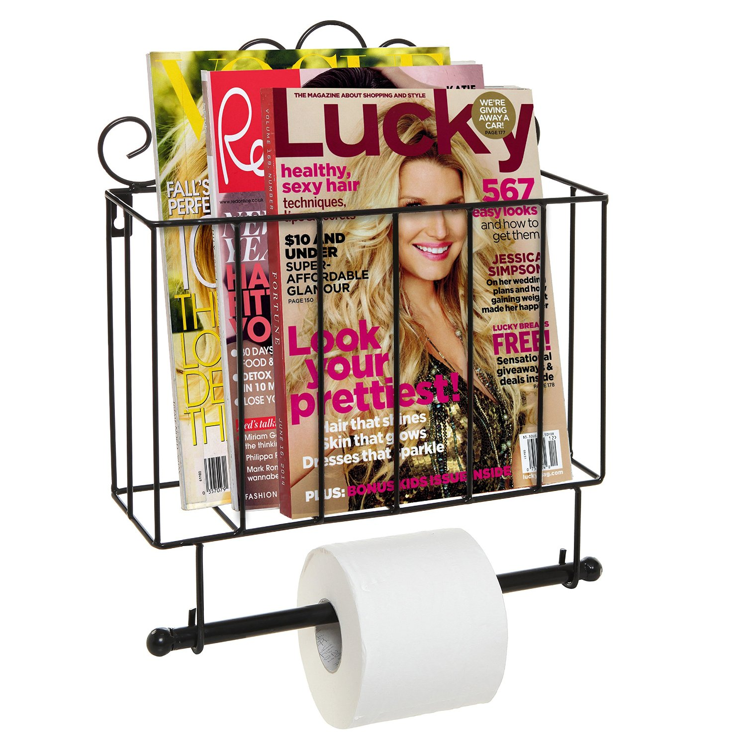 Black Metal Scrollwork Design Wall Mounted Bathroom Magazine Shelf Basket Rack With Toilet Paper Roll Bar