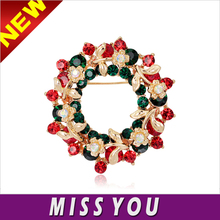 Christmas selling high-end European and American jewelry wild round wreath brooch