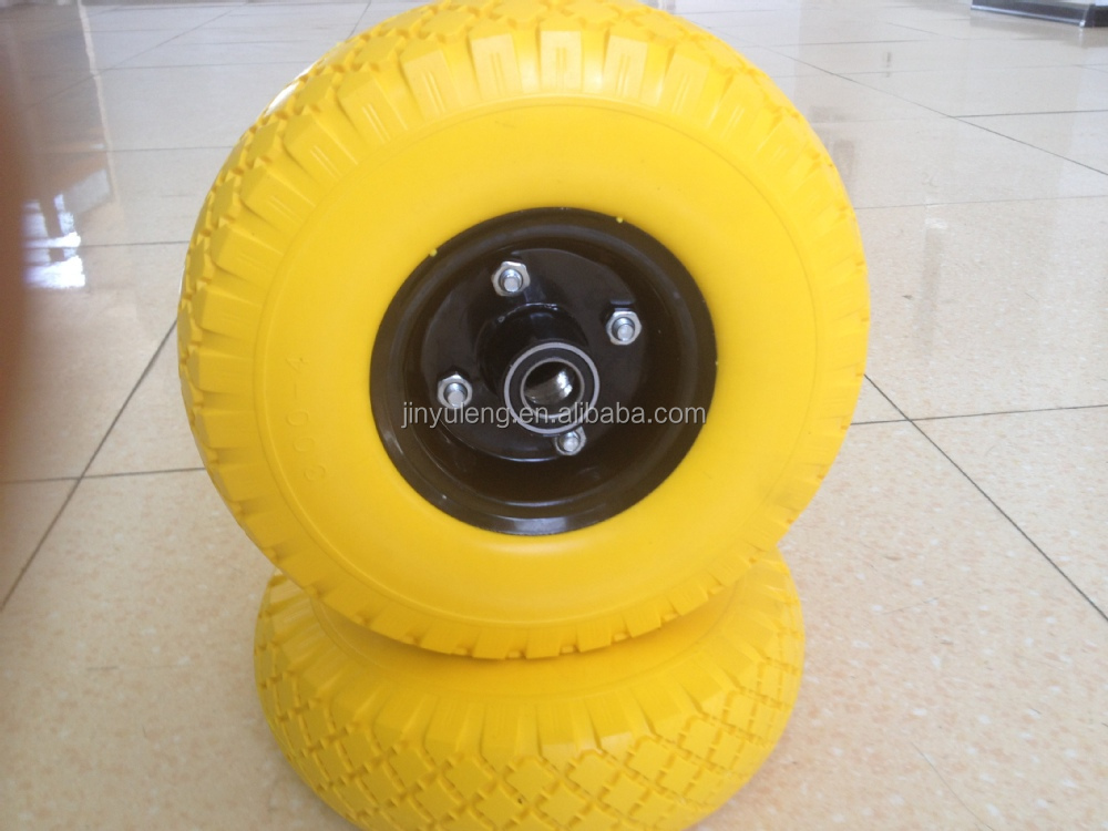 6 x2 2.50-4 3.00-4 3.50-4 400-8 CHINA qing dao high quality PU foam wheel for hand trolley truck tool cart wheelbarrow