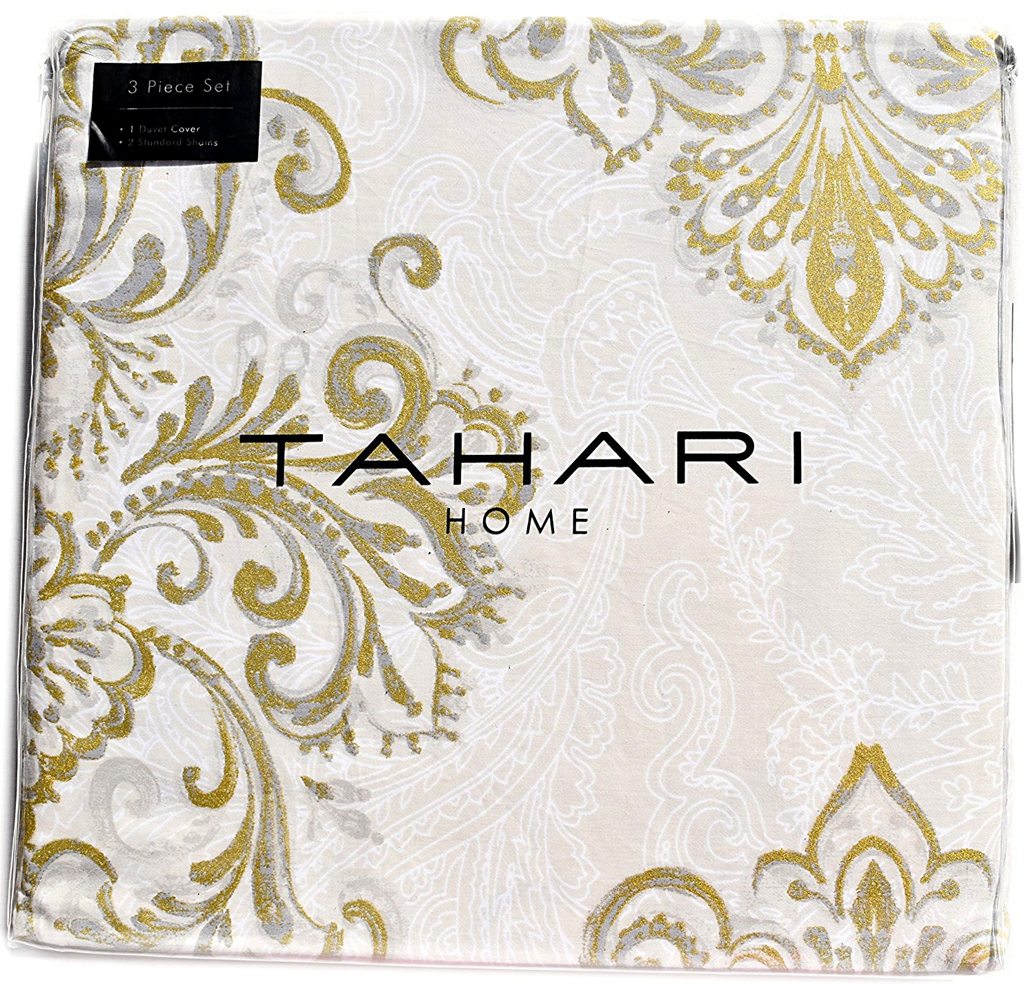 Tahari Home Beige Metallic Gold Grey Ivory Vintage French Damask Paisley Medallions 3pc Full Queen Duvet Cover Set Antique Bothe Style Bohemian