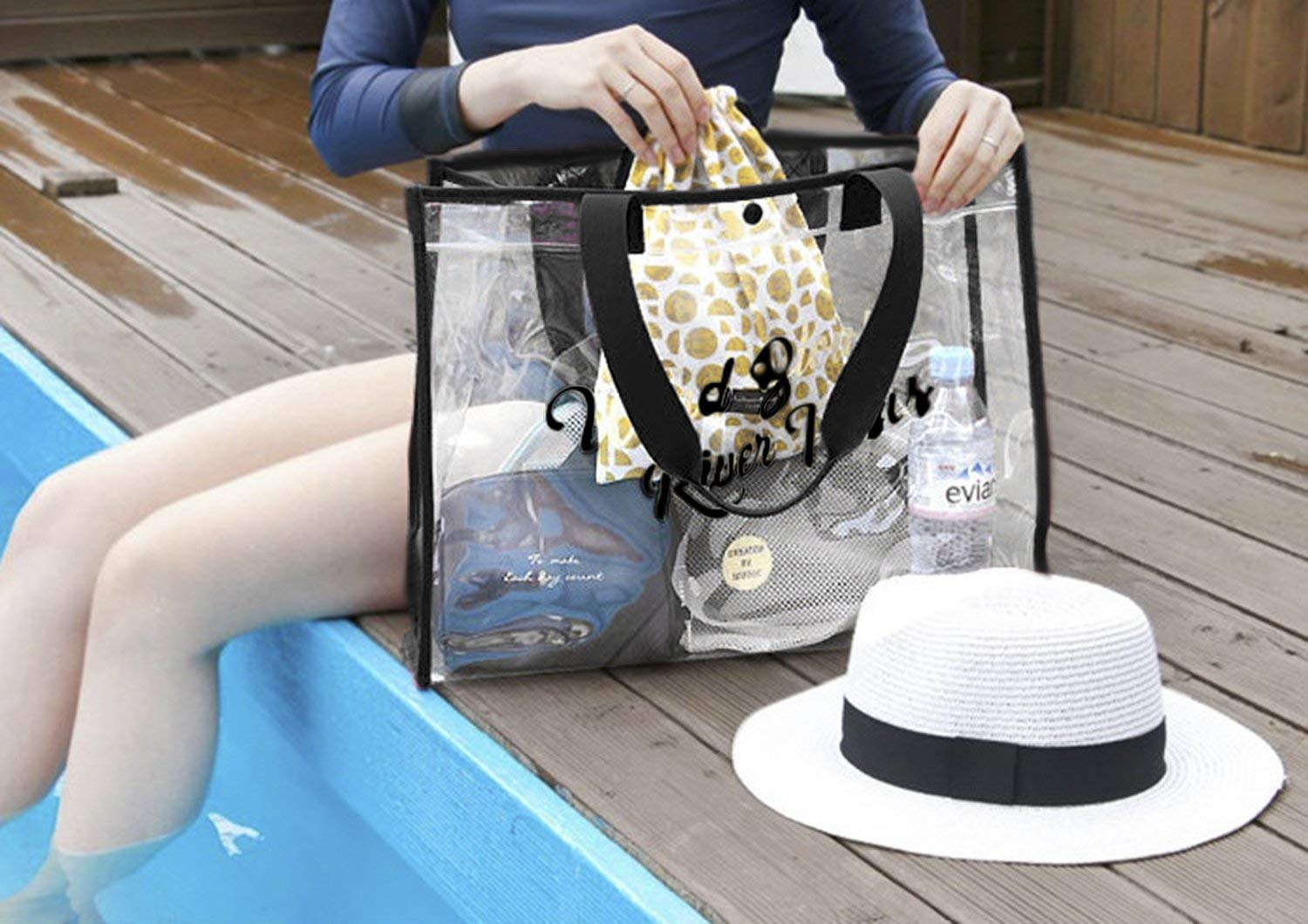 custom woman luxury soft zipper waterproof  transparent clear pvc shopping tote bag