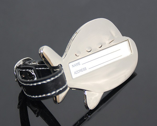 New Arrival 3D Airplane Shape Black Leather Strap Name Address Promotional Airplane Zinc Alloy Blank Wholesale Metal Luggage Tag
