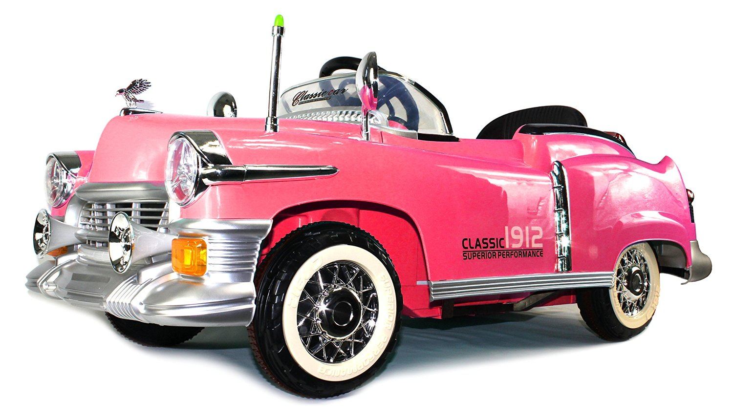 Classic 1912 Coupe Cruiser Children's Kid's Electric Powered Rechargeable Remote Control Ride On Car w/ MP3 Player, Control by Steering Wheel or by Remote Control (Pink)