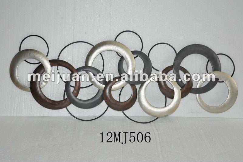 2012 d coration murale en m tal avec des cercles de fer - Plaque metal decorative pas cher ...